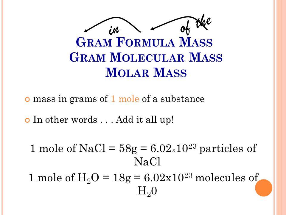 Gram Formula Mass Gram Molecular Mass Molar Mass