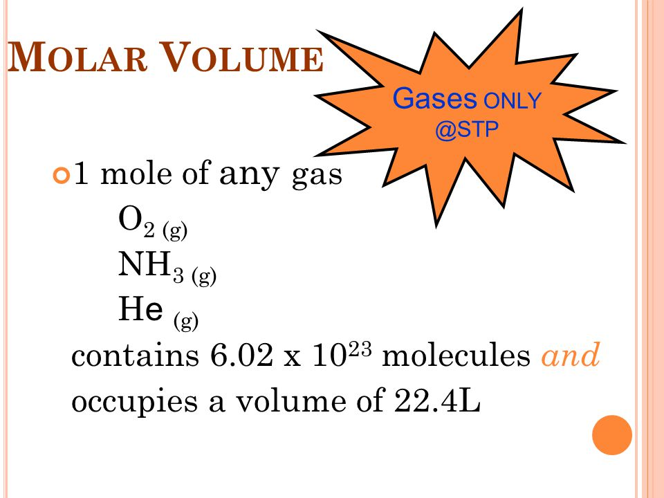 Molar Volume 1 mole of any gas O2 (g) NH3 (g) He (g)
