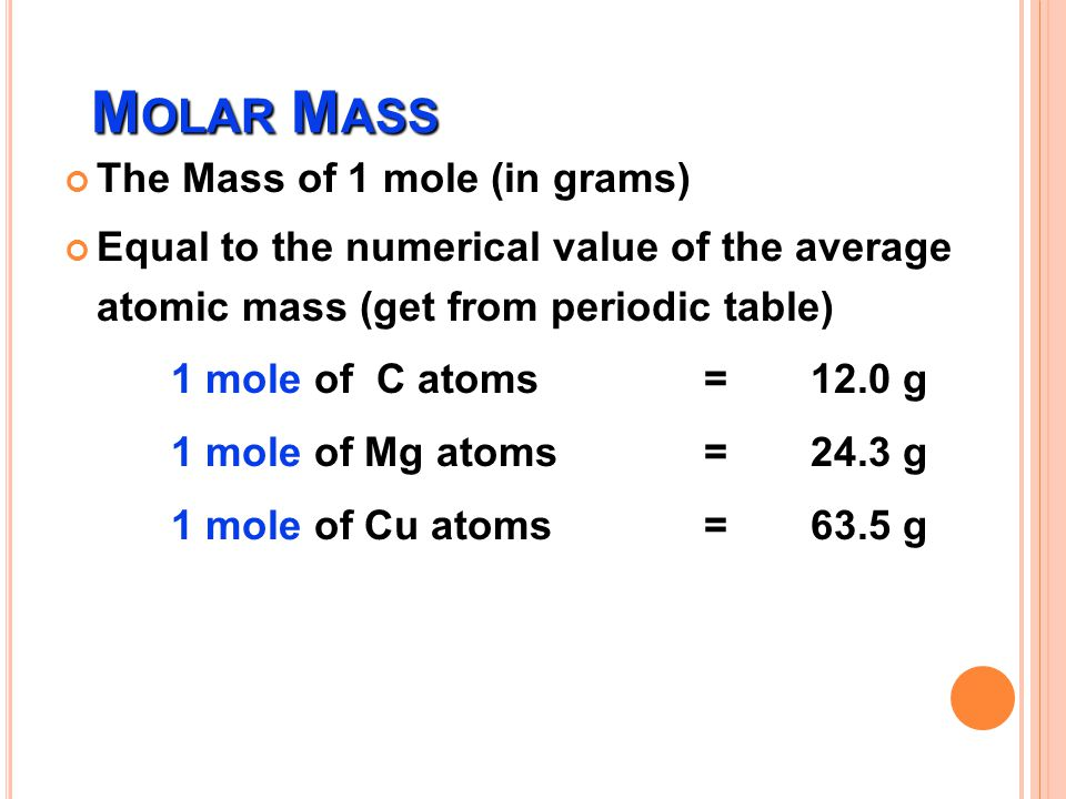 Molar Mass The Mass of 1 mole (in grams)