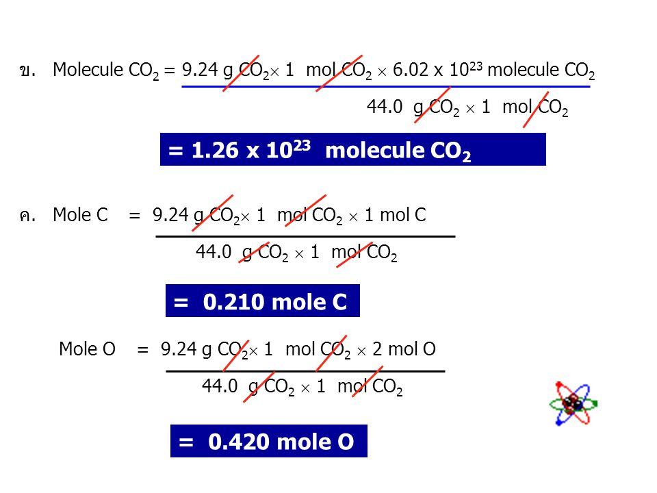 = 1.26 x 1023 molecule CO2 = 0.210 mole C = 0.420 mole O
