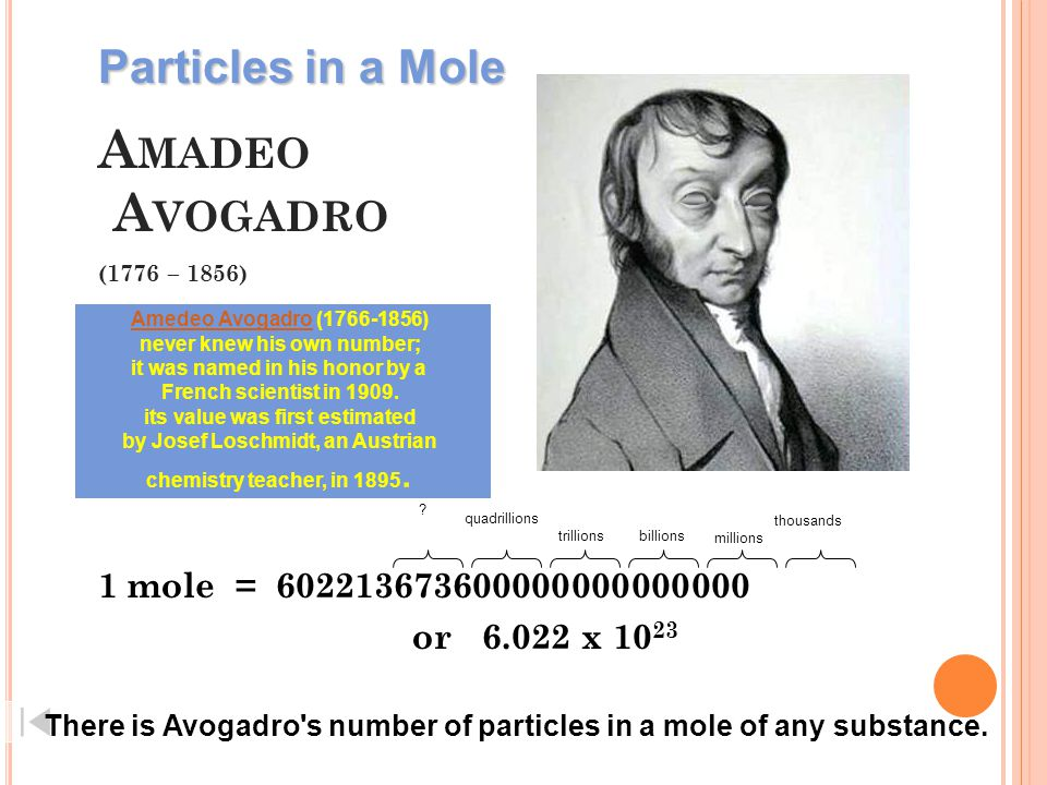 Amadeo Avogadro (1776 – 1856) Particles in a Mole