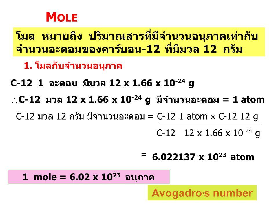 Mole โมล หมายถึง ปริมาณสารที่มีจำนวนอนุภาคเท่ากับจำนวนอะตอมของคาร์บอน-12 ที่มีมวล 12 กรัม. 1. โมลกับจำนวนอนุภาค.