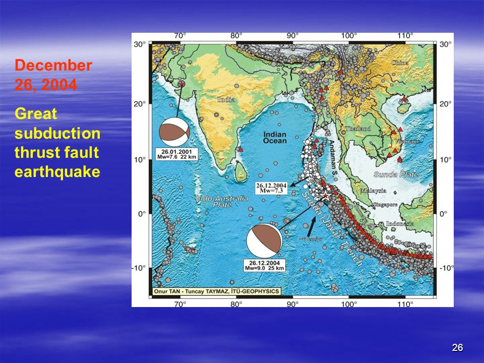 December 26, 2004 Great subductionthrust fault earthquake