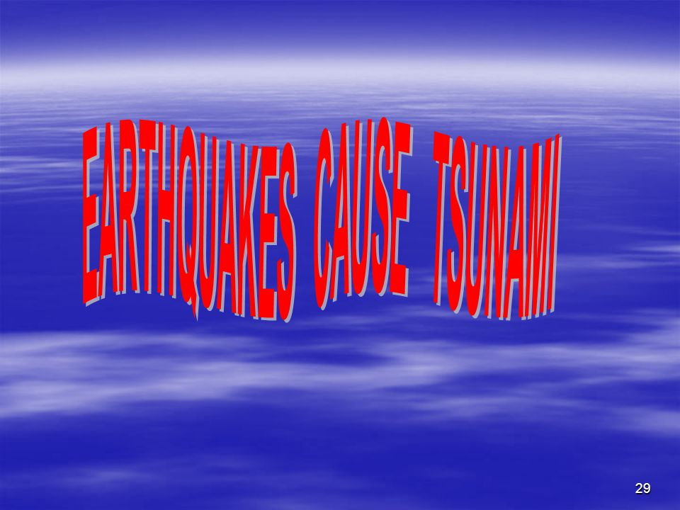 EARTHQUAKES CAUSE TSUNAMI