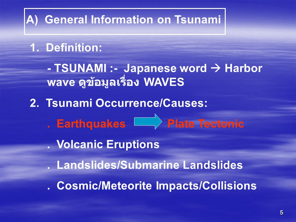A) General Information on Tsunami