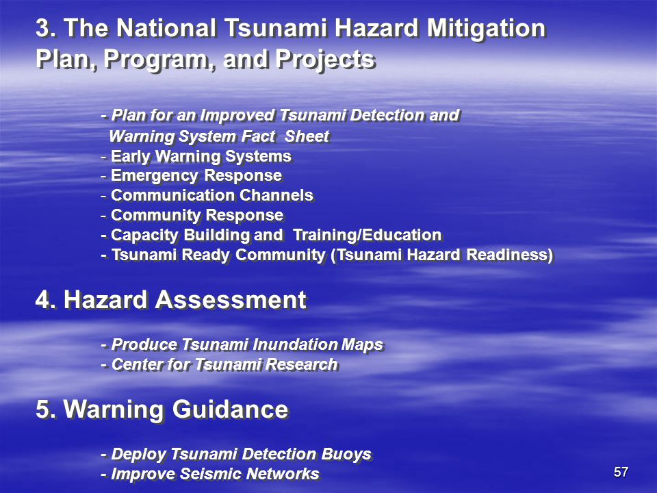 3. The National Tsunami Hazard Mitigation Plan, Program, and Projects