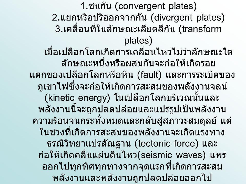 1. ชนกัน (convergent plates) 2