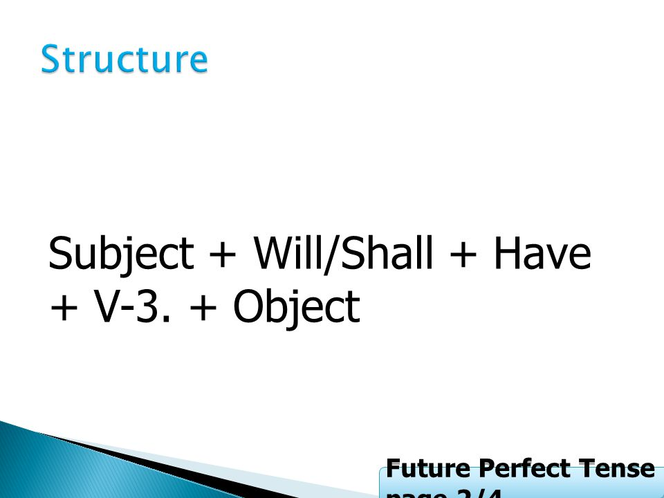 Subject + Will/Shall + Have + V-3. + Object