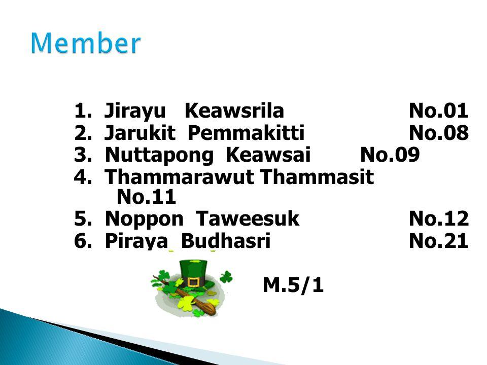 Member 1. Jirayu Keawsrila No.01 2. Jarukit Pemmakitti No.08
