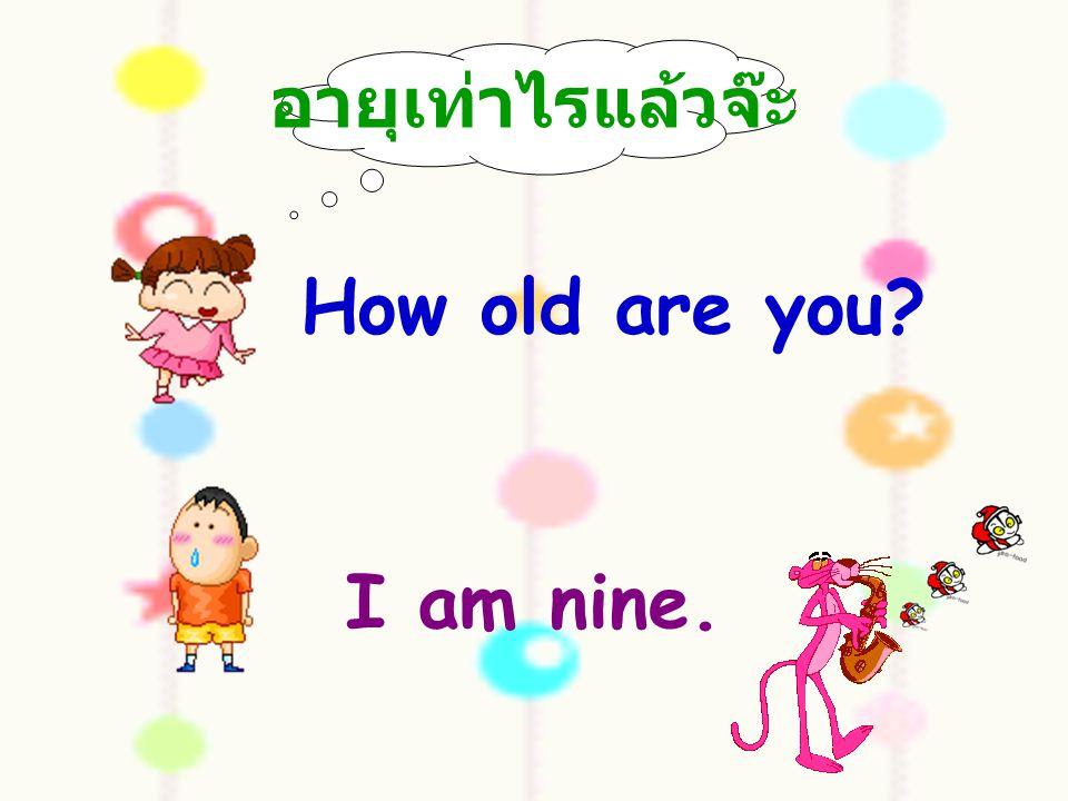 อายุเท่าไรแล้วจ๊ะ How old are you I am nine.
