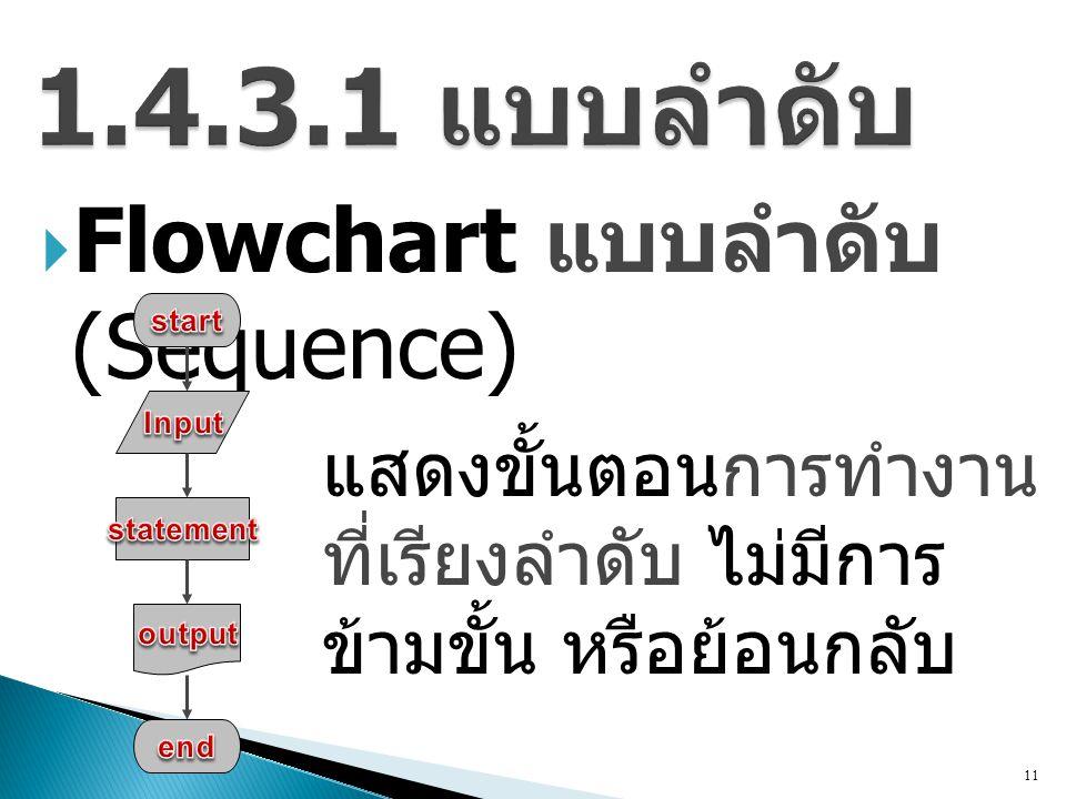 1.4.3.1 แบบลำดับ Flowchart แบบลำดับ (Sequence)