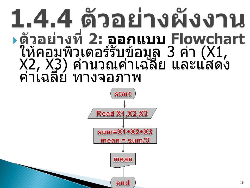 1.4.4 ตัวอย่างผังงาน ตัวอย่างที่ 2: ออกแบบ Flowchart ให้คอมพิวเตอร์รับ ข้อมูล 3 ค่า (X1, X2, X3) คำนวณค่าเฉลี่ย และแสดง ค่าเฉลี่ย ทางจอภาพ.