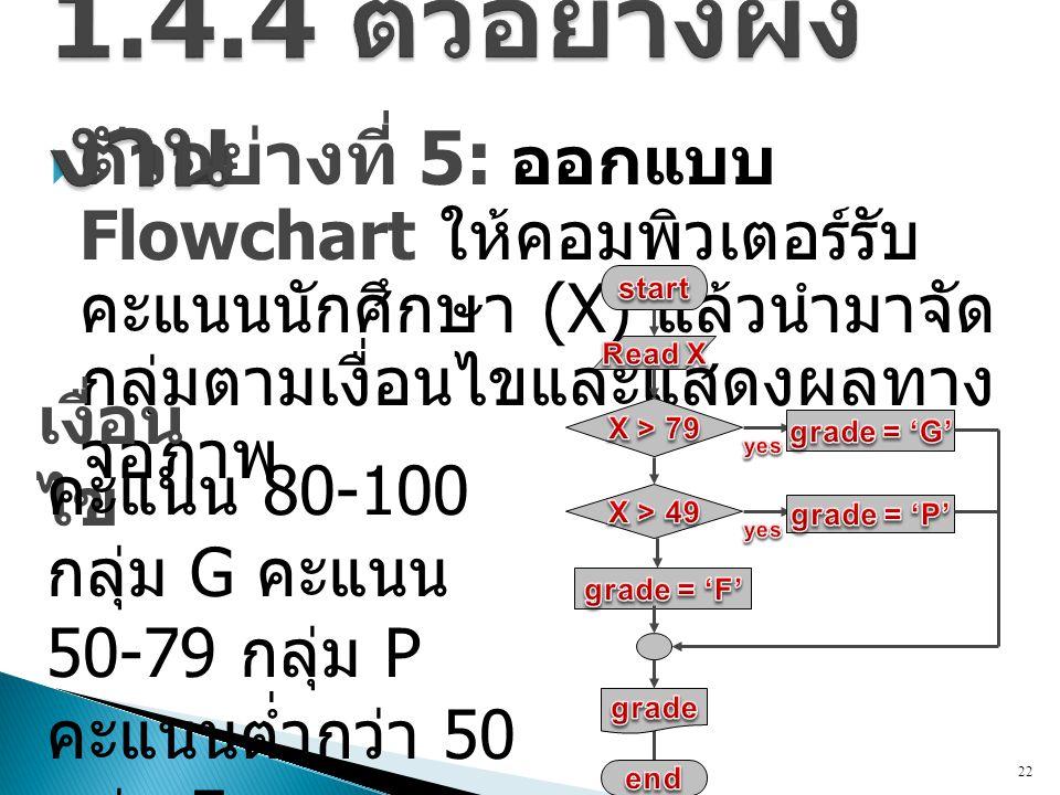 1.4.4 ตัวอย่างผังงาน ตัวอย่างที่ 5: ออกแบบ Flowchart ให้คอมพิวเตอร์ รับคะแนนนักศึกษา (X) แล้วนำมาจัดกลุ่มตามเงื่อนไข และแสดงผลทางจอภาพ.