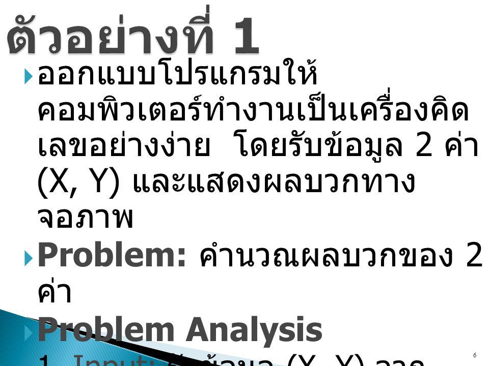 ตัวอย่างที่ 1 ออกแบบโปรแกรมให้คอมพิวเตอร์ทำงานเป็น เครื่องคิดเลขอย่างง่าย โดยรับข้อมูล 2 ค่า (X, Y) และแสดงผลบวกทางจอภาพ.