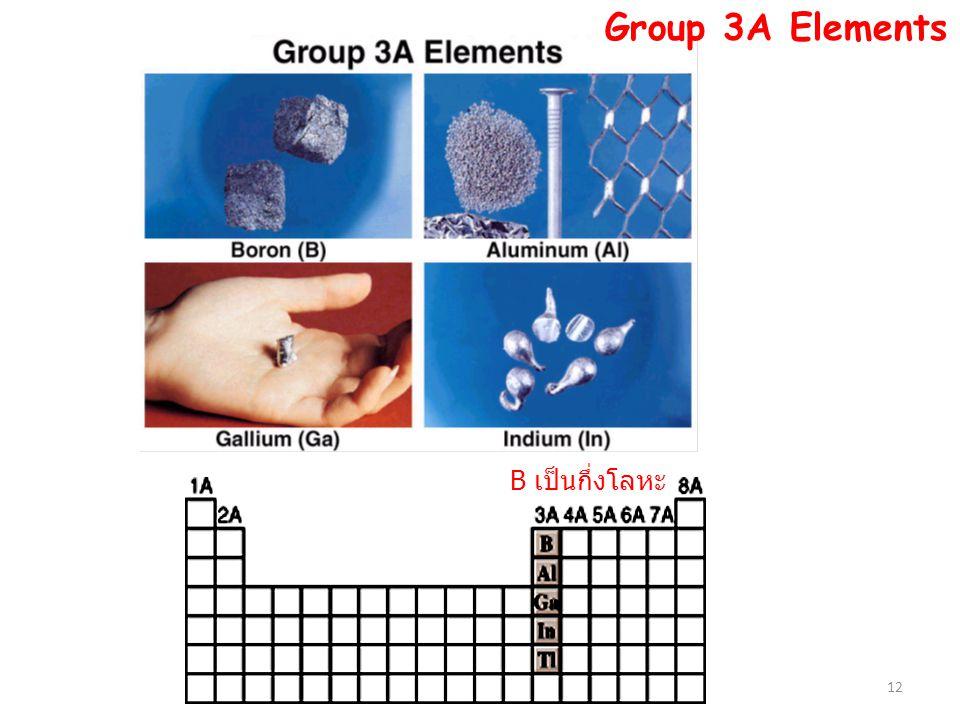 Group 3A Elements B เป็นกึ่งโลหะ