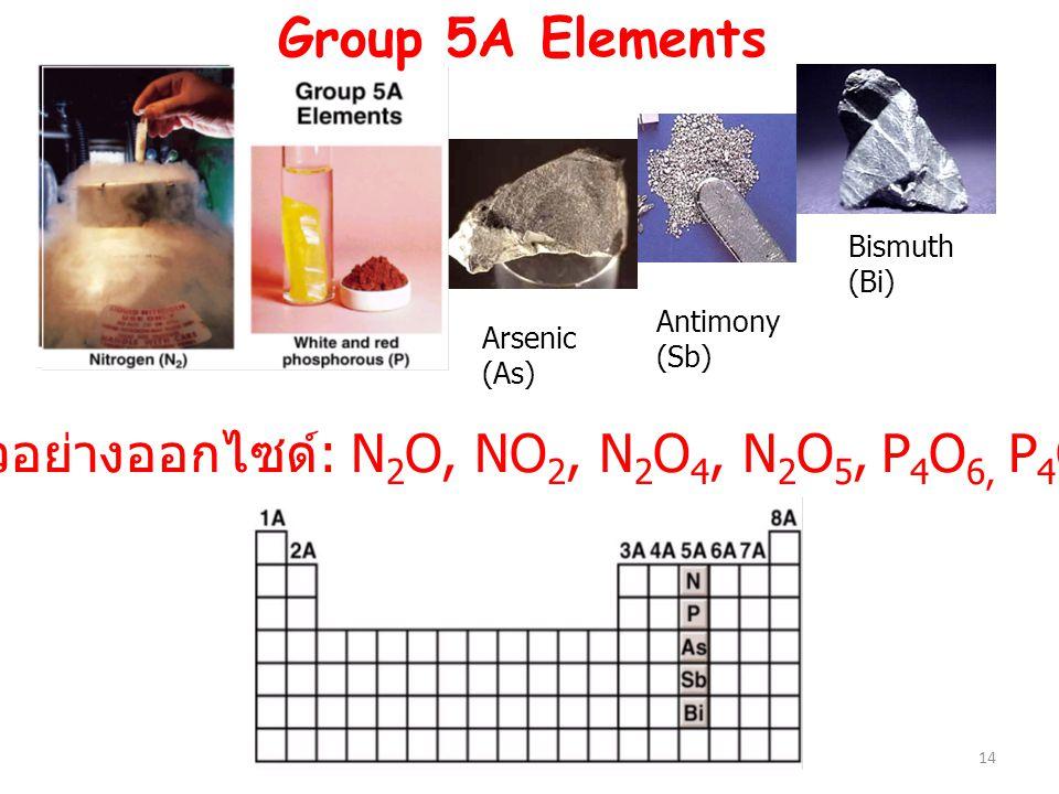ตัวอย่างออกไซด์: N2O, NO2, N2O4, N2O5, P4O6, P4O10