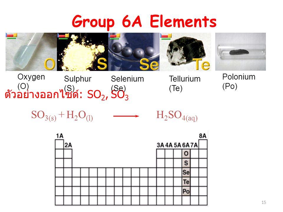ตัวอย่างออกไซด์: SO2, SO3