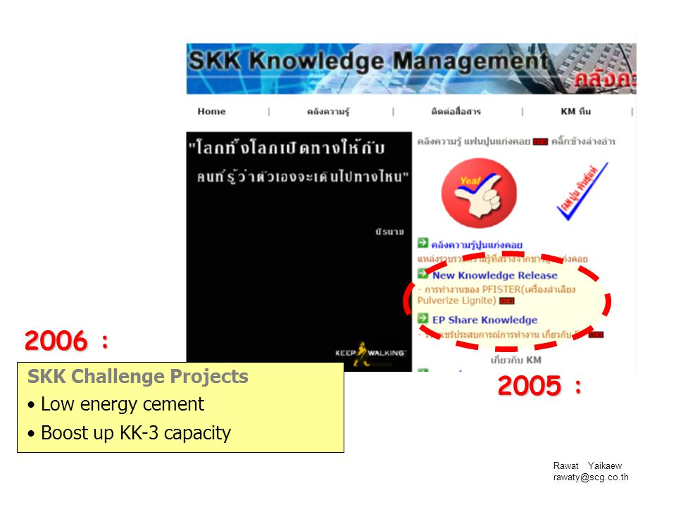2006 : 2005 : SKK Challenge Projects Low energy cement