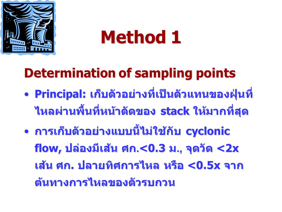 Method 1 Determination of sampling points