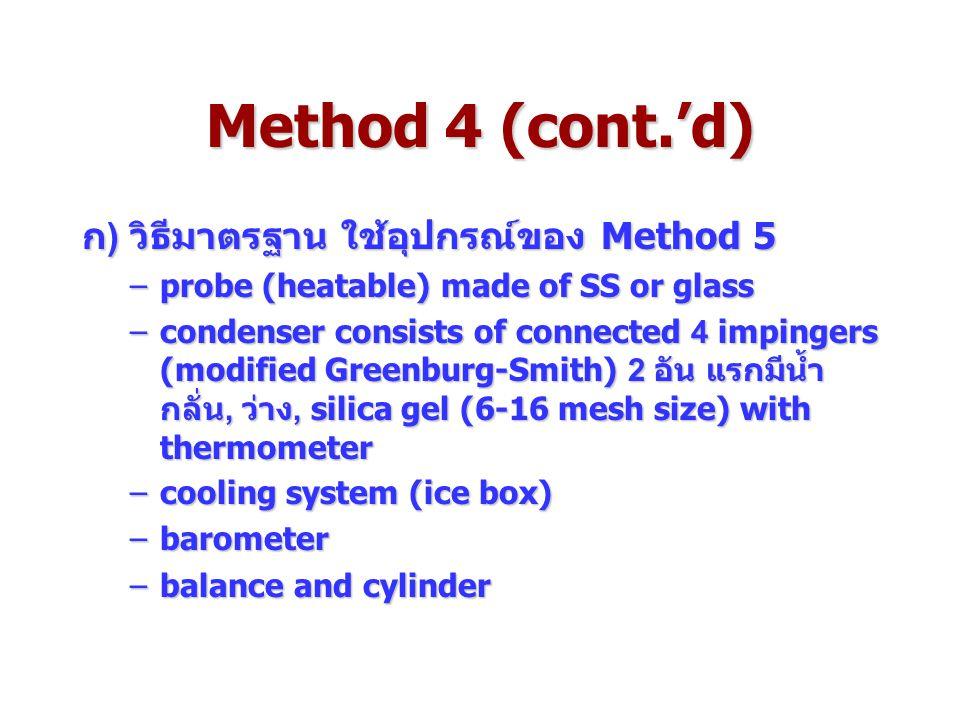Method 4 (cont.'d) ก) วิธีมาตรฐาน ใช้อุปกรณ์ของ Method 5