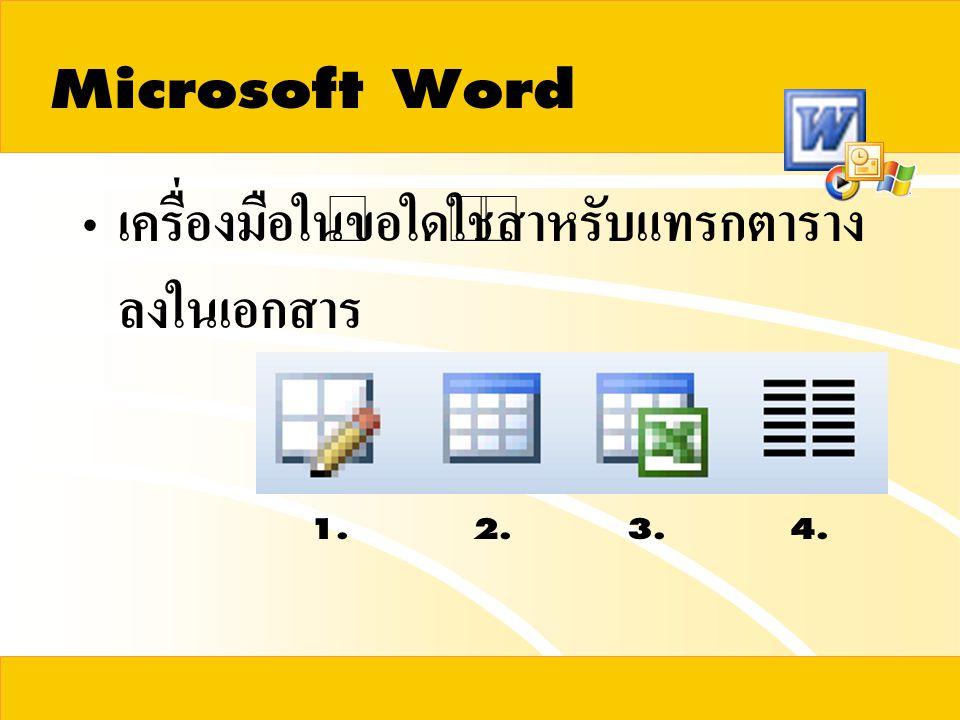 Microsoft Word เครื่องมือในข้อใดใช้สำหรับแทรกตารางลงในเอกสาร