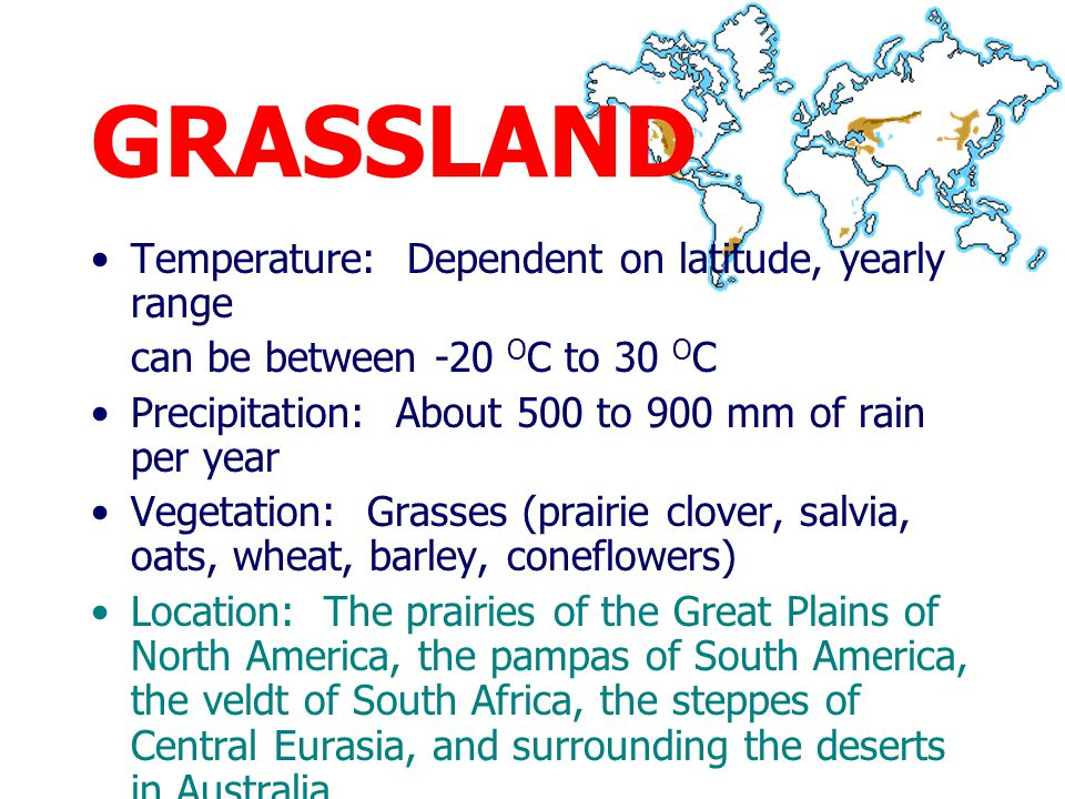 GRASSLAND Temperature: Dependent on latitude, yearly range