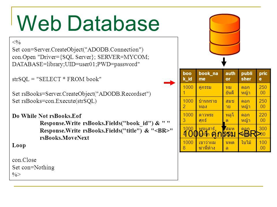 Web Database 10001 คู่กรรม <BR> <%