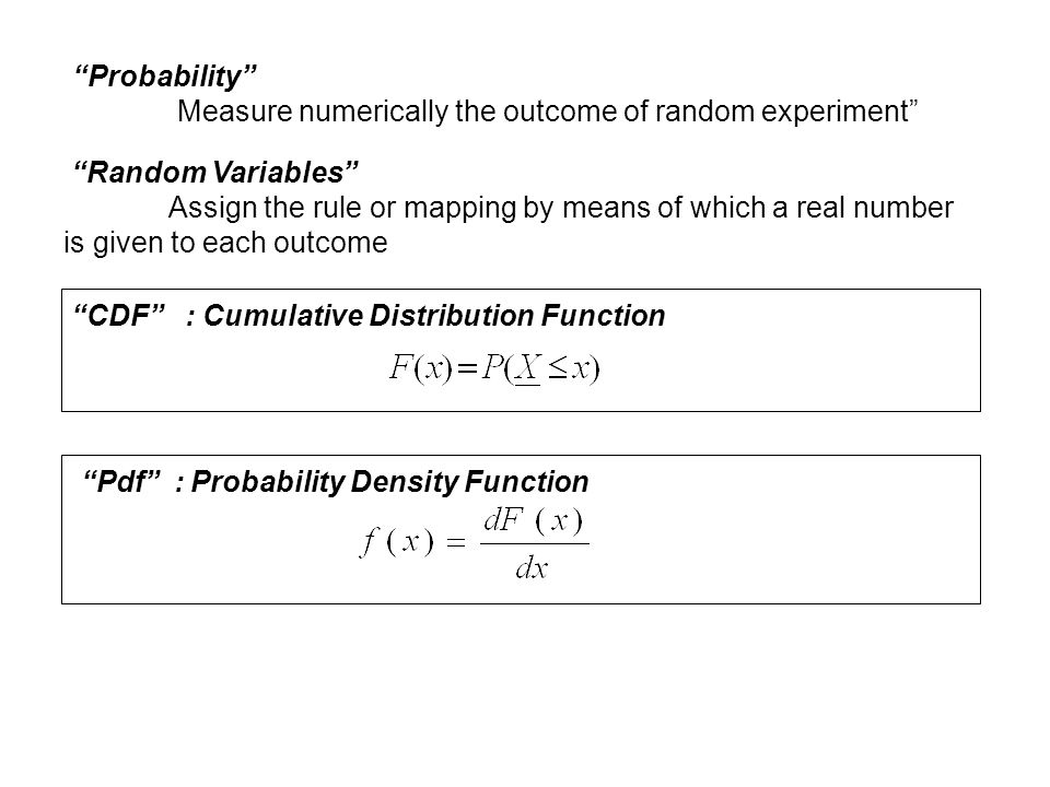 Probability Measure numerically the outcome of random experiment Random Variables Assign the rule or mapping by means of which a real number.