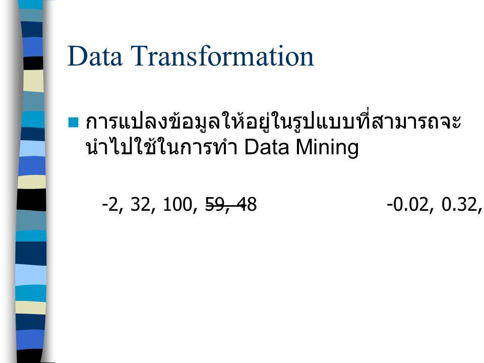 Data Transformation การแปลงข้อมูลให้อยู่ในรูปแบบที่สามารถจะนำไปใช้ในการทำ Data Mining.