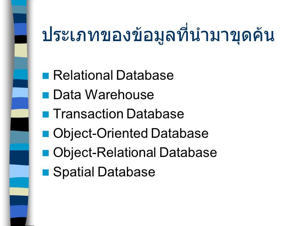 ประเภทของข้อมูลที่นำมาขุดค้น