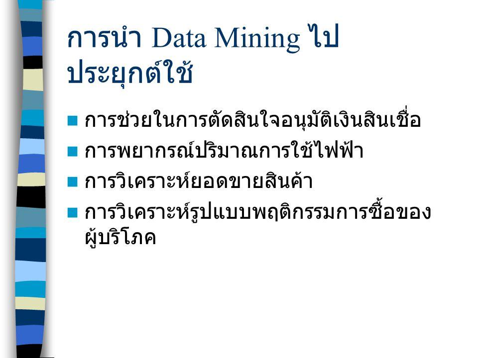 การนำ Data Mining ไปประยุกต์ใช้