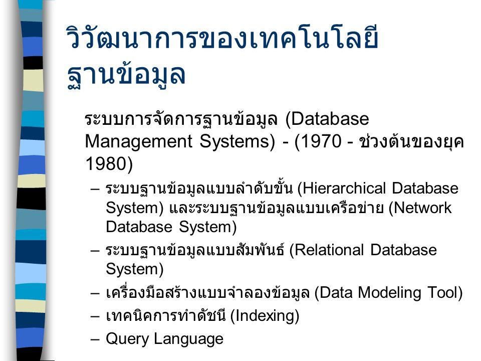 วิวัฒนาการของเทคโนโลยีฐานข้อมูล