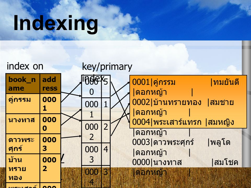 Indexing Multi-key Indexing index on book_name key/primary index 0000