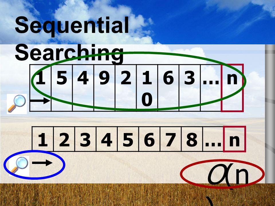 Sequential Searching 1 5 4 9 2 10 6 3 … n 1 2 3 4 5 6 7 8 … n O(n)