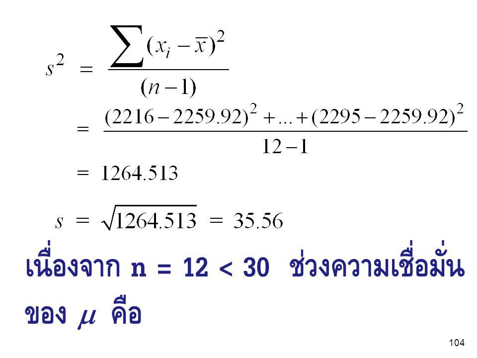 เนื่องจาก n = 12 < 30 ช่วงความเชื่อมั่นของ  คือ