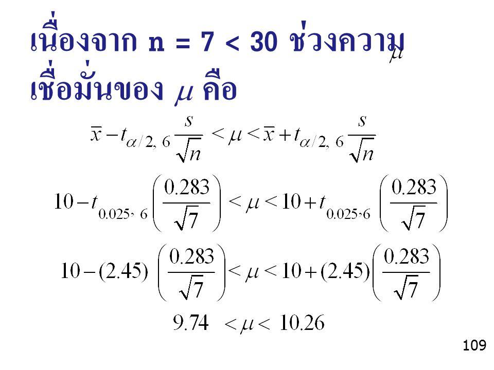 เนื่องจาก n = 7 < 30 ช่วงความเชื่อมั่นของ  คือ