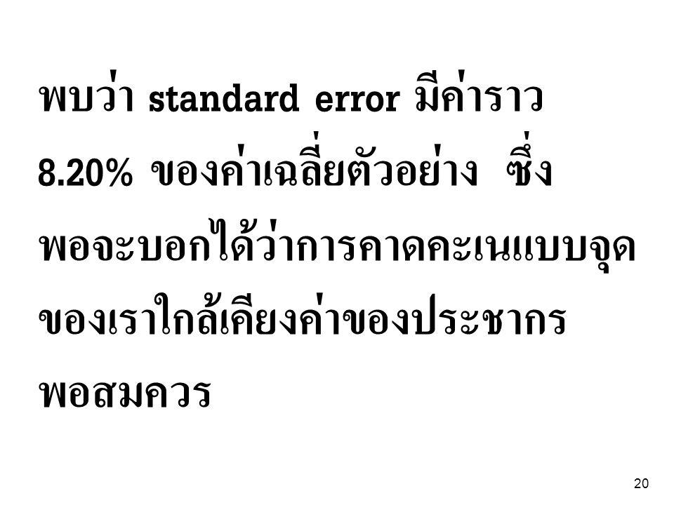 พบว่า standard error มีค่าราว 8