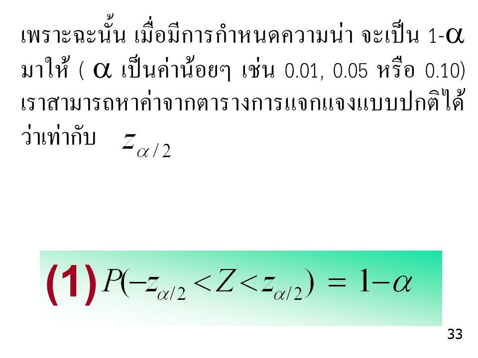 เพราะฉะนั้น เมื่อมีการกำหนดความน่า จะเป็น 1- มาให้ (  เป็นค่าน้อยๆ เช่น 0.01, 0.05 หรือ 0.10) เราสามารถหาค่าจากตารางการแจกแจงแบบปกติได้ ว่าเท่ากับ