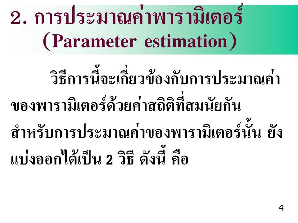 2. การประมาณค่าพารามิเตอร์ (Parameter estimation)