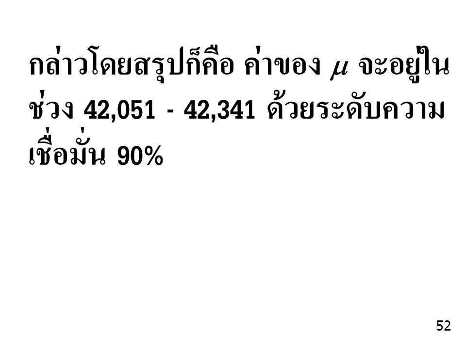 กล่าวโดยสรุปก็คือ ค่าของ  จะอยู่ใน ช่วง 42,051 - 42,341 ด้วยระดับความเชื่อมั่น 90%