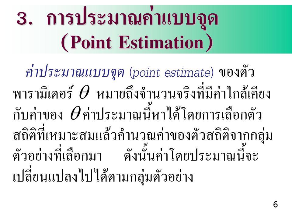 3. การประมาณค่าแบบจุด (Point Estimation)