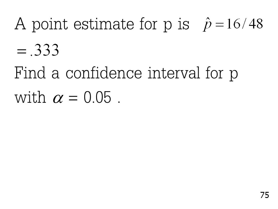A point estimate for p is