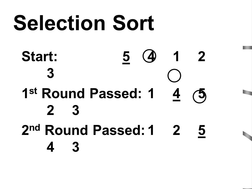 Selection Sort Start: 5 4 1 2 3 1st Round Passed: 1 4 5 2 3