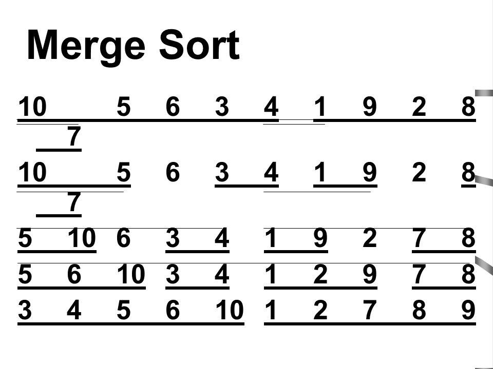 Merge Sort 10 5 6 3 4 1 9 2 8 7. 5 10 6 3 4 1 9 2 7 8. 5 6 10 3 4 1 2 9 7 8. 3 4 5 6 10 1 2 7 8 9.
