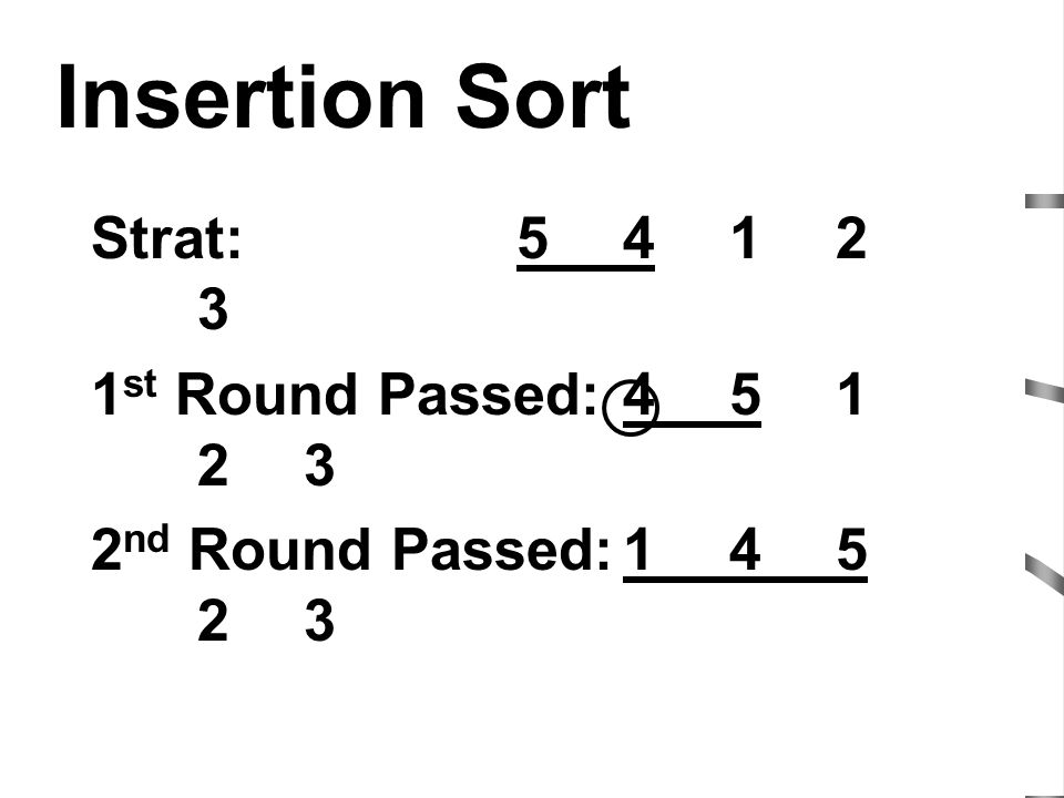 Insertion Sort Strat: 5 4 1 2 3 1st Round Passed: 4 5 1 2 3
