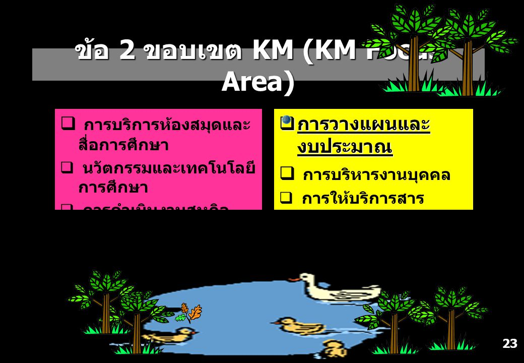 ข้อ 2 ขอบเขต KM (KM Focus Area)