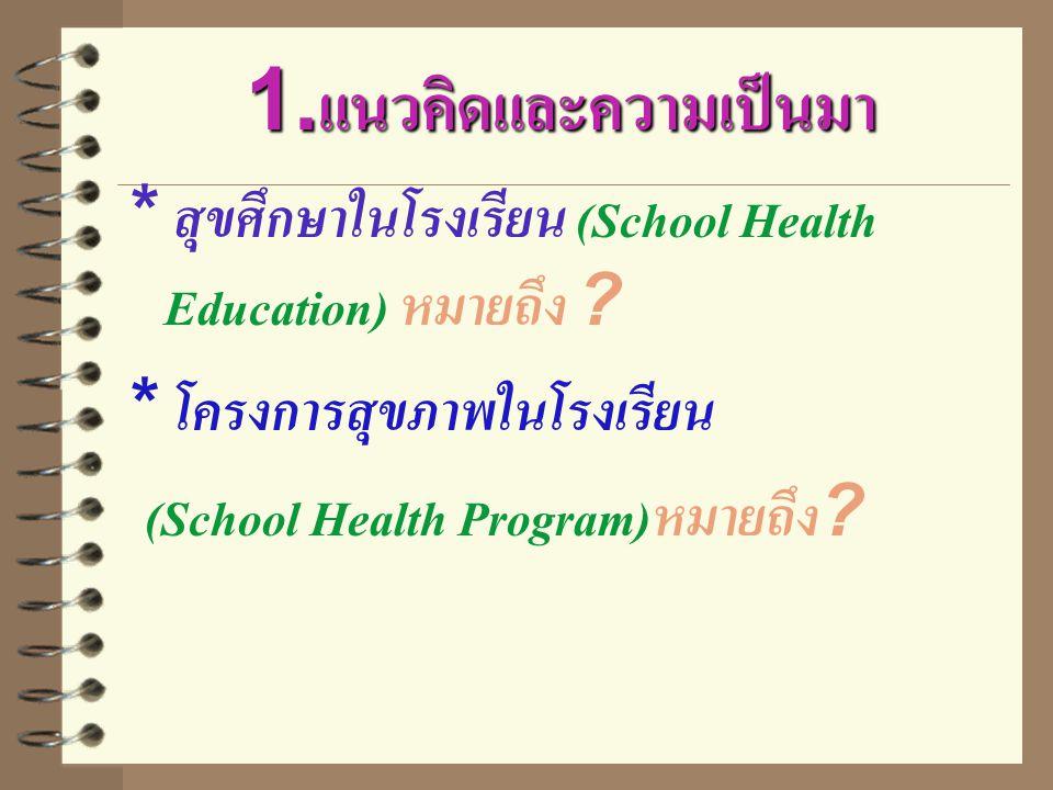 1.แนวคิดและความเป็นมา * สุขศึกษาในโรงเรียน (School Health Education) หมายถึง * โครงการสุขภาพในโรงเรียน.