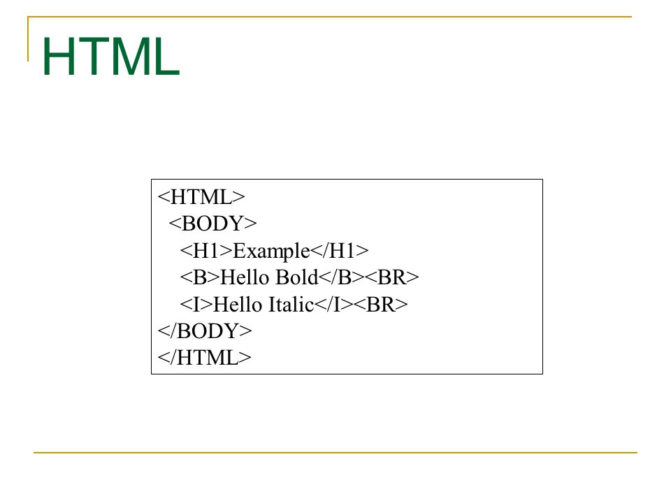 HTML <HTML> <BODY> <H1>Example</H1>