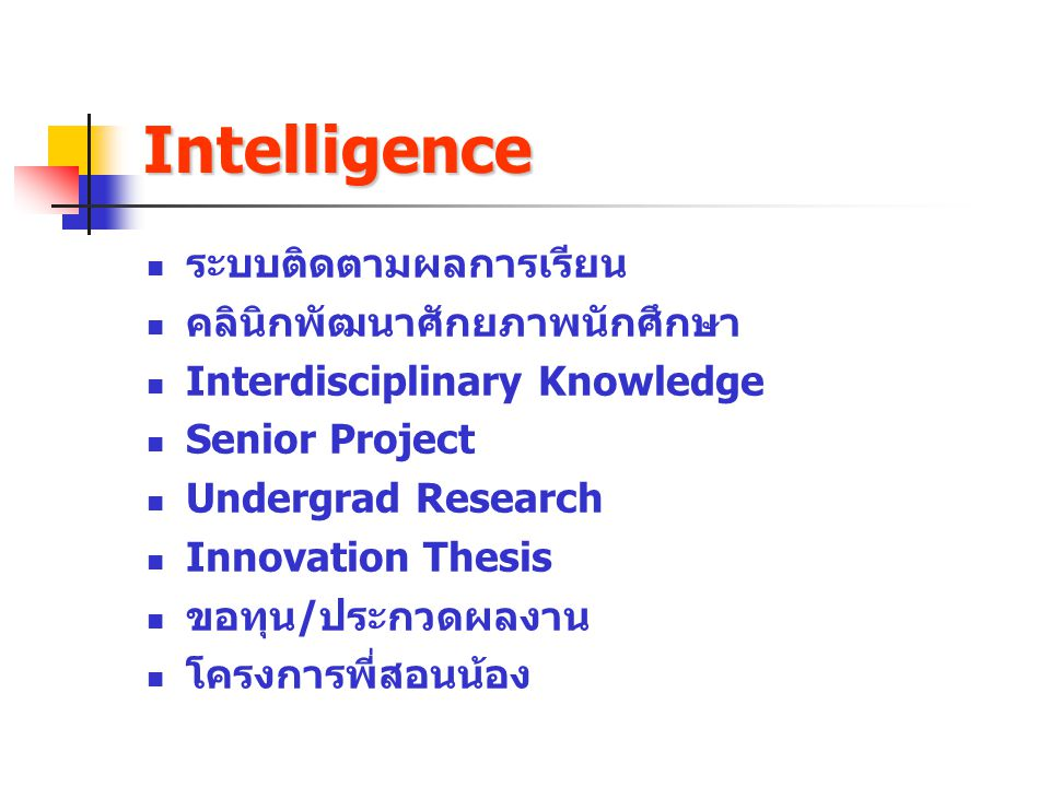 Intelligence ระบบติดตามผลการเรียน คลินิกพัฒนาศักยภาพนักศึกษา
