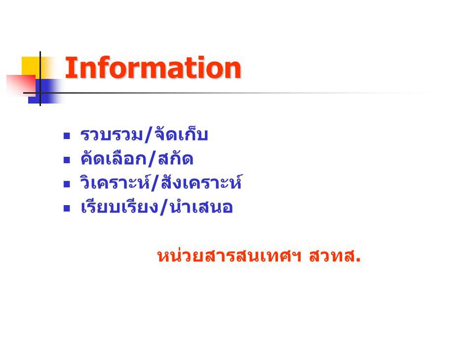 Information รวบรวม/จัดเก็บ คัดเลือก/สกัด วิเคราะห์/สังเคราะห์